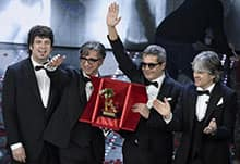 Members of Italian band Stadio celebrate on stage after winning the 66th Festival of the Italian Song of Sanremo, in Sanremo, Italy, 13 February 2016. ANSA/CLAUDIO ONORATI
